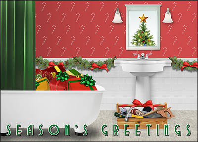 Bathroom Remodeling Christmas Card (Glossy White)