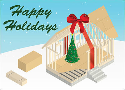 Carpentry christmas cards personalized for your business carpenter construction gift glossy white reheart Image collections