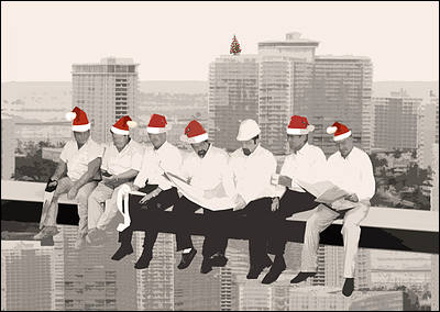 Christmas construction cards personalized for your business construction elves glossy white reheart Image collections