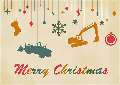 Construction equipment christmas cards for your business construction ornaments glossy white reheart Image collections
