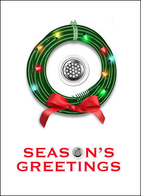 Drain Cleaning Christmas Card (Glossy White)