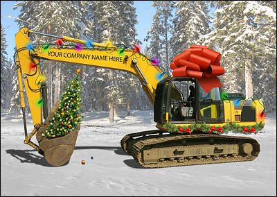 Excavator gift christmas cards personalized for your business excavator gift christmas card glossy white reheart Image collections