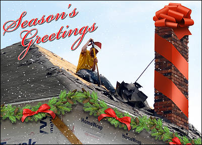 Festive Roofing Holiday Card (Glossy White)