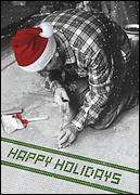 Happy Holidays Tile worker