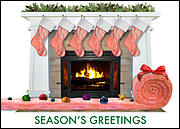 Insulation Fireplace Christmas Card