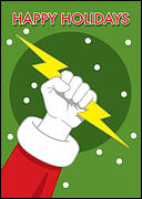Lightning Santa Christmas Card