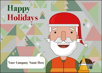Santa construction christmas cards for your business santa construction christmas card glossy white reheart Image collections