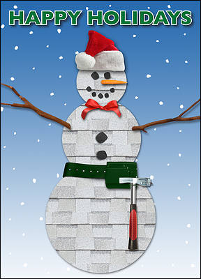 Snowman Roofing Christmas Card (Glossy White)